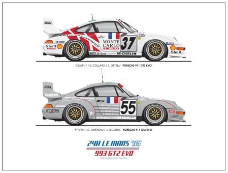 le mans 39 95 poster 993 gt2 evo 12 x 9. Black Bedroom Furniture Sets. Home Design Ideas